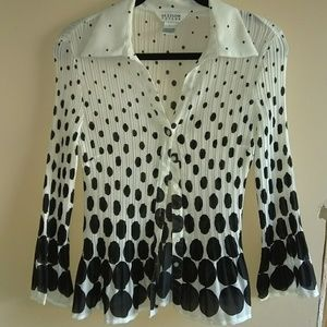 Allison Taylor top. Black & white polka dot. Large